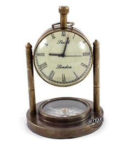 Brass Desk Clock Quartz Analog Shelf Clocks Vintage Table Top Decor Antique Gift