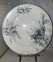 Antique Doulton's Arundel Burslem Black & White Dinner Plate (1)