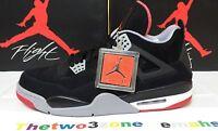 Nike Air Jordan 4 Retro BLACK/FIRE RED sz 12 IV xi vii iii cement vi xii viii ix