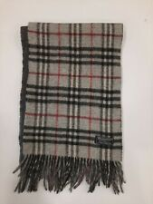 Genuine Burberrys Classic Check Grey 100% wool vintage winter scarf scarves