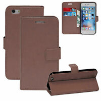 PU Leather Brown Book Wallet Magnetic Stand Case Cover For iPhone 7 7G Card Slot