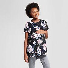 Isabel Maternity Short Sleeve Black Floral Print Top