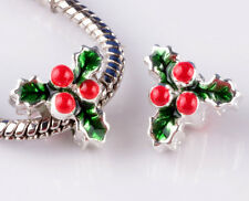 925 sterling solid silver Christmas tree Beads Fit European Charm Bracelet #C878