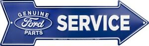 """Genuine Ford Parts Service Metal Arrow Sign 20"""" x 6"""" ↔ Garage Embossed Decor"""