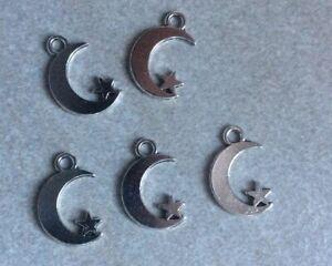 Tibetan Silver Moon and Star Charms, 17x11mm, 5pcs, Diy Jewellery Making