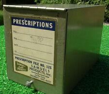 Vintage Prescription File Box Rx Apothecary SAMUELS PRODUCTS CINCINNATI OHIO