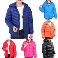 Kids Boy Girls Hooded Lightweight Down Coat Padded Puffer Quilted Jacket Warm