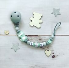 Dummy chain Soother keeper Nuckel Biting with name grey mint Silicone