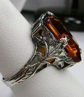 10ct Sim Orange Citrine Sterling Silver Art Deco Filigree Ring {Made To Order}