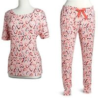 Vera Bradley HEARTS PINK TEE & LOUNGE PAJAMA SET - Choose your Size (New&Sealed)