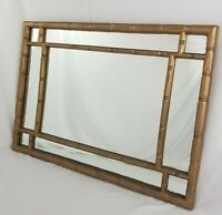 Vintage Faux Bamboo Rattan Wall Mirror Chinese Chippendale Hollywood Regency