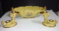 3 Pc Art Deco Abingdon Pottery Console Bowl #532 Scroll Double Candlesticks #479