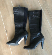 Cole Haan Women's 8.5 B NikeAir Black Leather Tall Zip Up Knee Boots