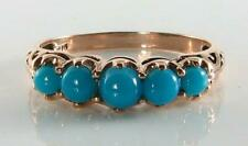 LOVELY  9K 9CT ROSE GOLD PERSIAN TURQUOISE ETERNITY RING FREE RESIZE