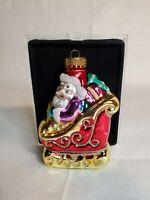 Vintage Shiny Brite Purple Santa Sleigh Blown Glass Glitter Christmas Ornament