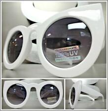 Oversize Vintage Retro Cat Eye Style Sunglasses Funky Exotic White Fashion Frame