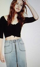 EXPRESS XL ONE ELEVEN BLACK OFF SHOULDER RUCHED FRONT CROPPED TEE top 16-18
