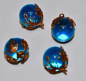 VINTAGE GLASS AQUA MARBLES BEADS PENDANTS* BEAUTIFUL BRASS  CAPS 14mm