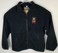 US Army Racing Black Full Zip Fleece Jacket Sierra Pacific Outdoors Mens S Small