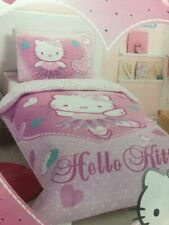 HELLO KITTY Single Quilt Cover Set - Princess Crown - Pink, Hearts - Reversible!