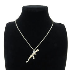 Silver Alloy Rifle Gun Military Pendant Short Chain Collar Chunky Necklace 18""