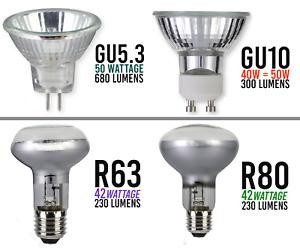 GU10 MR16 R63 R80 GU5.3 50W 240V HALOGEN SPOT LAMP LIGHT BULBS CHEAPEST IN UK