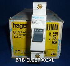 HAGER mt125 25 Amp SINGLE POLE B CURVA MCB Interruttore Automatico Nuovo Con Scatola