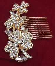 NEW GOLD BRIDAL HAIR COMB SLIDE WEDDING DIAMANTÉ CRYSTAL RHINESTONES VINTAGE PIN