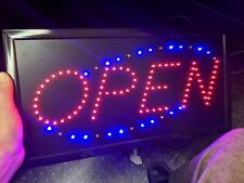 """Open"" Light Up Sign Steady & Moving For Businesses Bars Flea Market 9"" X 19"""