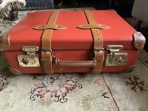 Globetrotter Centenary Red & Tan Carry On Suitcase Luggage Vintage