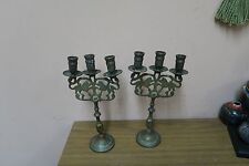 """Pair @ 2 Antique Brass Lions of Judah Candle Holders NY Brass 11"""" Judaica Jewish"""