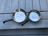 Vintage Farberware 18/10 Stainless Steel Cookware 2 Pce Set OPEN SKILLETS