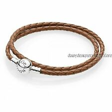NEW Authentic Pandora BROWN BRAIDED DOUBLE LEATHER BRACELET 590745CBN D1 Small R