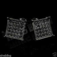 18k Black Gold ICED OUT Onyx Micropave Silver Square Hip Hop AAA CZ Earring 3M