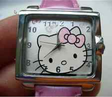 Hello Kitty Watch Square Faced Leather Band Quartz Watch Genuine Leather Pink