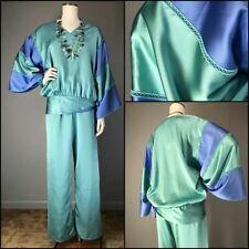Vtg 80s Color Block Kimono Lounge Pant Set Designer Bill Tice Angel Sleeve Vneck