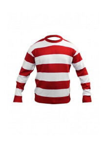 Kids Red & White Stripe Knitted World Book Week  Jumper Jumper Age  7-12 Years