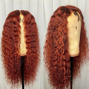 Orange Copper Red Kinky Curly Lace Front Wig Synthentic Glueless Long Hair Soft