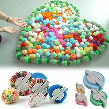 4 Sizes Pompon Set Plastic Pom Pom Maker Clover Fluff Ball Weaver Needle UK