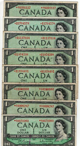 Bank of Canada 1954 $1 One Dollar Lot of 8 Vintage Replacement Notes F/VF