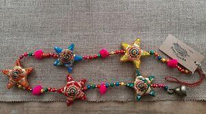 Handmade, Hanging Fabric Stars, Pom Poms & Bell, Boho/Hippie Decor