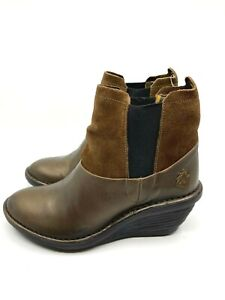 Fly London NEW Sula Wedge Leather Bootie Olive/Camel Wedge Rubber Sole Size 8