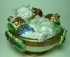 Fitz and Floyd Kristmas Kitty Lidded Box / Covered Bowl