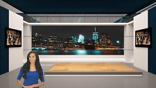 Blue Virtual Studio Set for green screen background & video editing