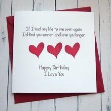 BIRTHDAY CARD WIFE HUSBAND GIRLFRIEND BOYFRIEND PARTNER romantic card LOVE