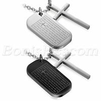 Men's Military Army Stainless Dog Tag Bible Cross Pendant Necklace Engravable
