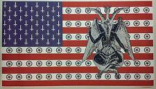 "Baphomet Satanic American Flag 42"" x 24"" Poster Evil Art Devil Hell Halloween"