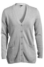 LADIES LONGER, BUTTON FRONT, V-NECK, CARDIGAN SWEATER, POCKETS SIDE VENTS XS-3XL