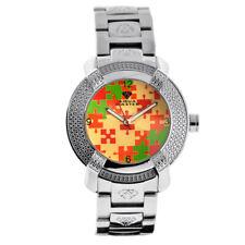New Aqua Master Mens Diamond Watch Round Red Green Mosaic Dial Steel Bracelet