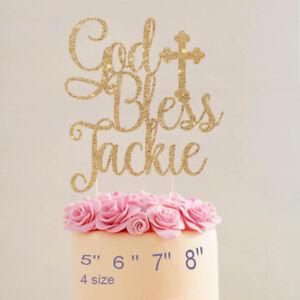 Bless Cake Topper God baptism Christening Cake decoration